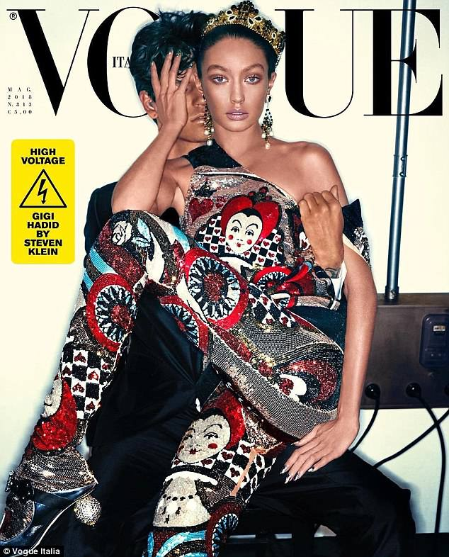 "Gigi Hadid in Vogue Italia as ""Black Face"""