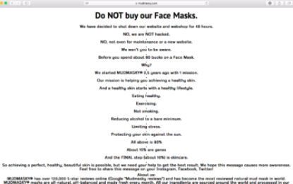 "Skincare company says: ""Don't buy our products"""
